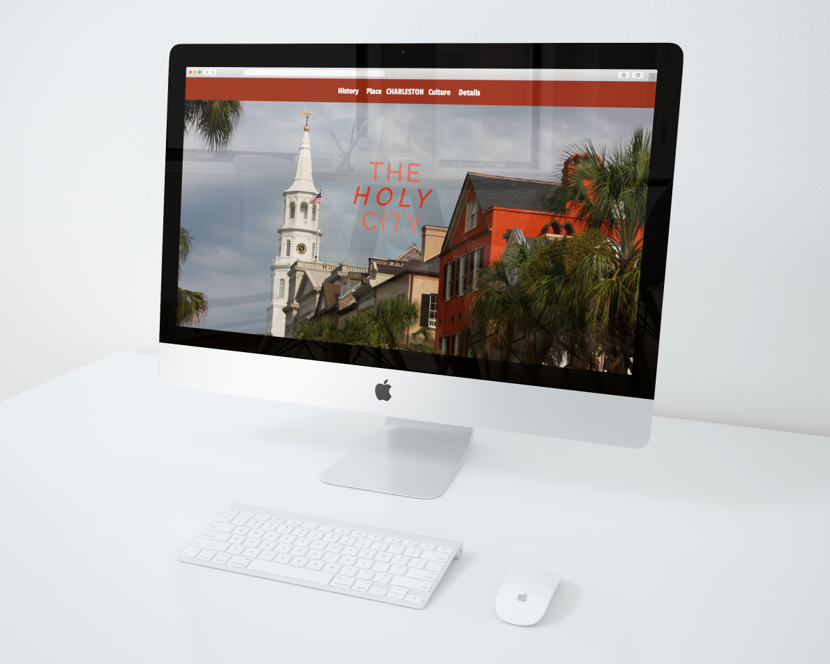 A mockup of an iMac displaying a website landing page.